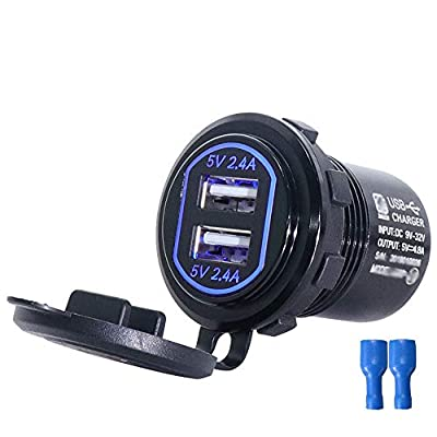 SAGIN Dual USB car Charger Socket,Waterproof Aluminum car Chargers Socket Output 2.4A & 2.4A (4.8A) DIY Kit,Power Outlet with Blue Light for Cellphones, GPS Accessories in Car Boat Motorcycle Marine from Dongguan Zhuoshi Hardware Technology co.,ltd