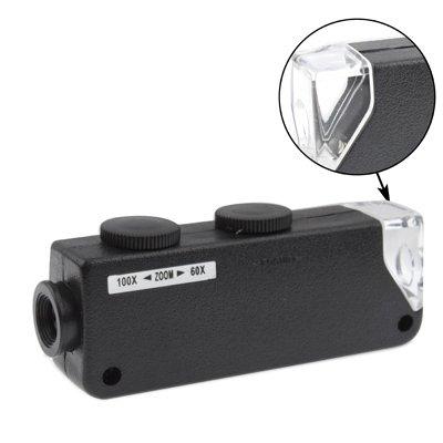 XDWH AYSMG 60X-100X Zoom & Focus LED Illuminated Microscope Pocket Magnifier Jewelry Loupe