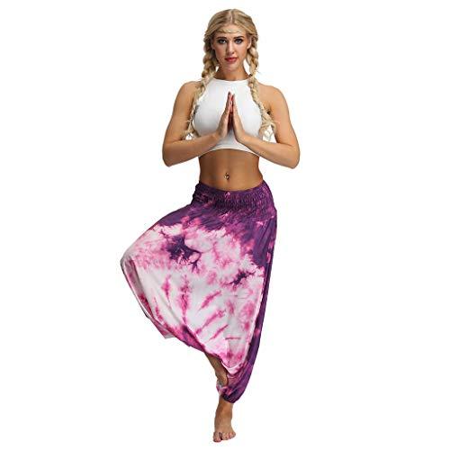 TUDUZ Yoga Hosen Baggy Hippie Boho Hose Hosenrock Haremshose Aladinhose Pumphose Pluderhosen für Damen (One Size, Y6-Mehrfarbig3)