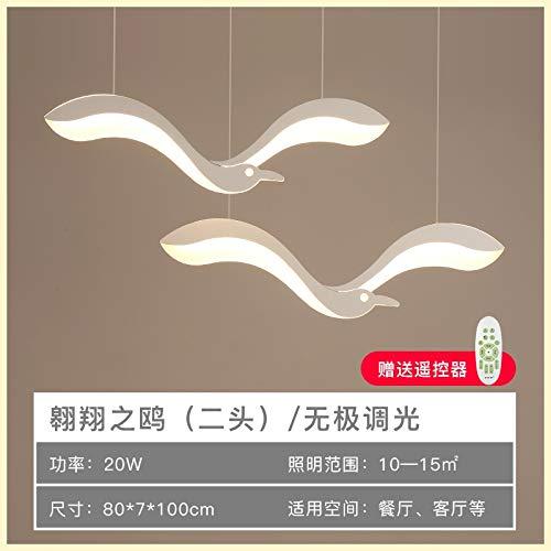 Springhua Postmoderno Comedor Sala de estar Chandelier Bird Dormitorio Creativo Personalidad LED Araña Simple Modern Balcony Lámpara de araña (Emitting Color : APP with RC dimmable)