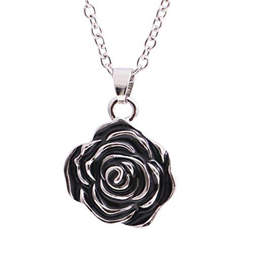 XKMY Collares de urna para cenizas moda negro rosa flor colgante collar gargantilla encanto para cenizas joyería colgante conmemorativo