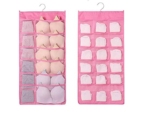 30 Pockets Double Sided Foldable Wardrobe Organizer Wall Door Hanging Organiser Bra Underwear Socks Storage Bags Multi Pockets A 40*80CM