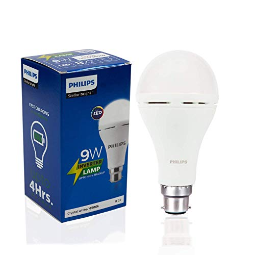 Philips Inverter Bulb 9 Watt Rechargeable Emergency LED Bulb for Home, Cool Daylight, Base B22 + 2 Free Eveready Batteries