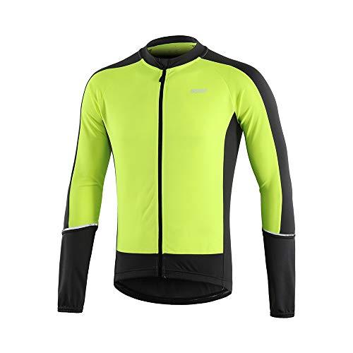 ARSUXEO Herren Radtrikot, Langarm Fahrradtrikot, Lange Ärmel Fahrrad Trikot für Männer Schnell Trocknend Fahrradshirt 6033 Grün XL