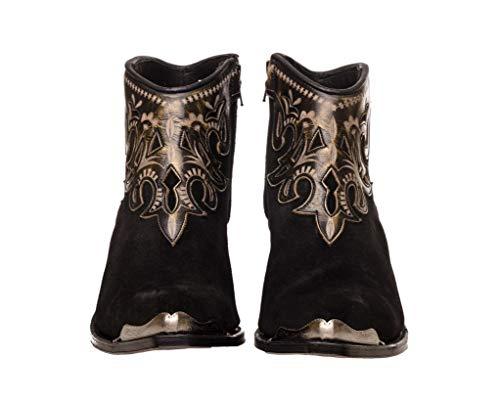 Sendra Boots Botín de Serraje con Repujado en Cuero 14627 Lia Serraje/Softy Delave (37 EU, Negro)