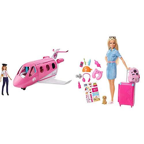 Barbie GJB33 - Reise Traumflugzeug Flugzeug mit Puppe und Zubehör, Puppen Spielzeug ab 3 Jahren & Reise Puppe mit blonden Haaren inkl. Reisezubehör und Hündchen, Puppen Spielzeug und Puppenzubehör