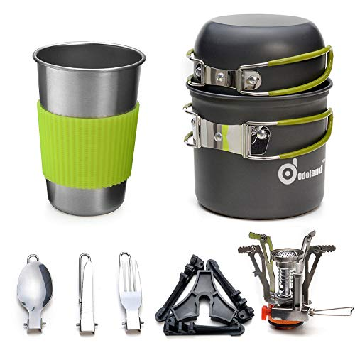 Odoland Camping Cookware Stove Carabiner Canister Stand Tripod and Stainless Steel Cup, Tank Bracket, Fork Spoon Kit for Backpacking, Outdoor Camping Hiking and Picnic