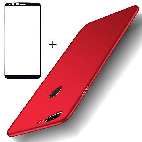 BLUGUL Cover OnePlus 5T + Vetro Temperato, Ultra Sottile, Completamente Protettivo, Sentimento di Seta, Pellicola Protettiva e Duro Custodie for OnePlus 5T Rosso