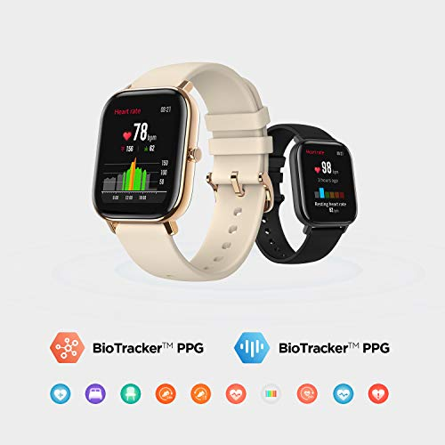 Amazfit GTS Smartwatch, Sportuhr, 14 Tage, Akkulaufzeit, GPS-Akku + Glonass, BioTracker™ PPG, Herzfrequenz, 5 ATM, Bluetooth 5.0, iOS & Android (schwarz)