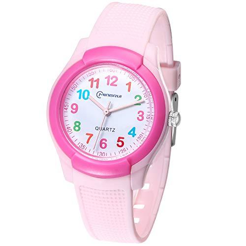 Relojes Analógicos Para Niñas,NiñosImpermeable Fácil De Leer Relojes De Pulsera Con Correa Suave Para Niñas (Número Del Color-Rosa)