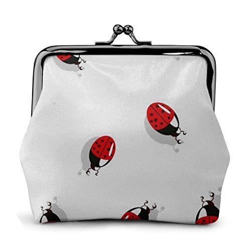 Billetera de Cuero Mariquita Linda Insecto Hebilla Monederos Monedero Vintage Bolsa Kiss-Lock Cambiar Monedero