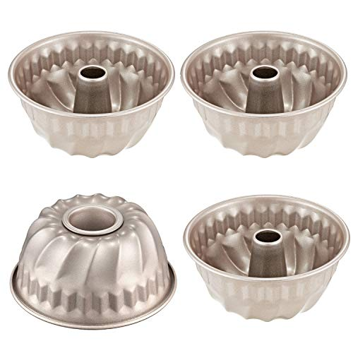 CHEFMADE 4PCS Mini Bundt Pan Set 4Inch Nonstick Carbon Steel Kugelhopf Mold FDA Approved for Oven and Instant Pot Baking Champagne Gold
