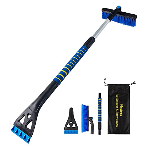 Moyidea 36' Extendable Ice Scraper Snow Brush Detachable Snow Removal Tool with Ergonomic Foam Grip for Car SUV Truck