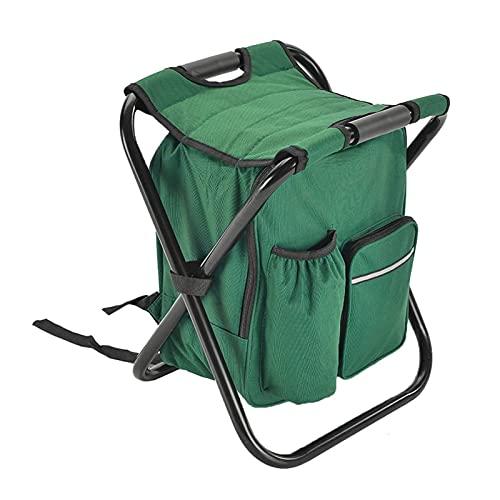 ASDFGHJK KANGYEBAIHUODIAN 2 en 1 Bolsa de la Silla de Pesca Plegable Pesca Mochila Silla Taburete Conveniente Resistente al desgasteV para la Caza al Aire Libre Equipo de Escalada (Color : Green)