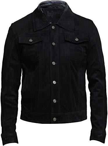 BRANDSLOCK Herren Leder Biker Jacke Casual Style Exklusives Ziegen-Wildlederhemd Denim Jeans Style (5XL, schwarz)