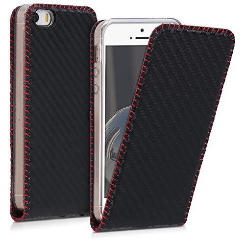 kwmobile Cover Compatibile con Apple iPhone SE (1.Gen 2016) / 5 / 5S - Custodia Flip Verticale apribile in Simil Pelle - con Linguetta calamita - Carbone Nero/Rosso