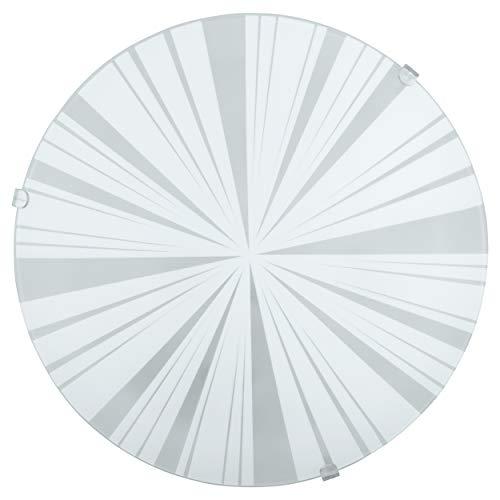 EGLO Deckenlampe Mars 1, 1 flammige Wandleuchte, Deckenleuchte aus Stahl, Farbe: Weiß, Glas: Weiß satiniert Motiv Strahlen, Fassung: E27