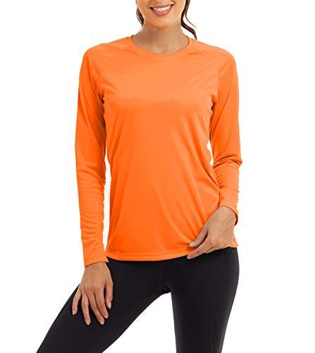 KEFITEVD Damen UV Schutzkleidung UPF 50+ Sommer Langarm Shirt Schnelltrocknend Atmungsaktiv Funktionsshirt Laufshirt für Outdoor Sport Orange XL