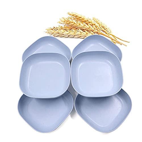 10Pcs Platos de paja de trigo Plato de refrigerio extraíble Bandeja para servir postre Platos de cena de colores geométricos Vajilla de camping para pasta Fruta para niños y adultos,Azul,Plate