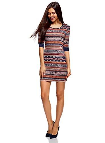 oodji Ultra Damen Jacquard-Kleid mit Geometrischem Muster, Rot, DE 34 / EU 36 / XS