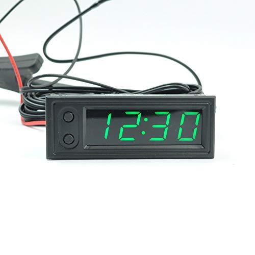 TTAototech 3 in 1 Clocks auto, orologio elettronico LED luminoso Termometro voltmetro di alta precisione (verde)