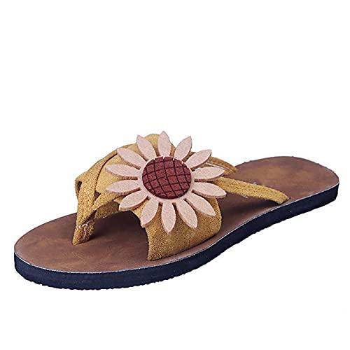 Chanclas Mujeres Verano Flip-Flop, Sandalias Planas Zapatos Playa Piscina, Verano Playa ocio puntera abierta orrector Zapatos Zapatillas Corrector,Amarillo,40