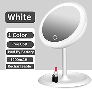 Illuminated Mirror Led Light Makeup Mirror Cosmetic Vanity Desktop Storage Mirror Touch Screen Dimmable Portable Makeup Mirror (Color : C2 White)