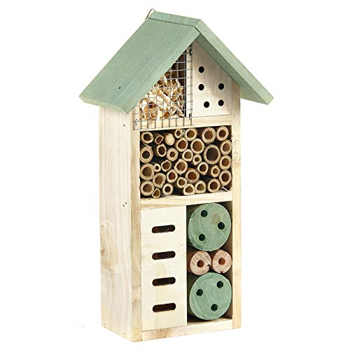 Pet Ting Wooden Insect Bee House Natural Wood Bug Hotel Shelter Garden Nest Box 26cm