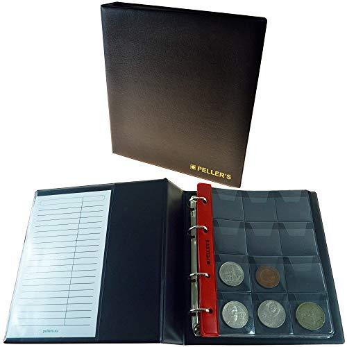 PELLER'S AM120B Sammelalbum für 120 10 Hüllen, Fächer 46 x 50mm. Für Münzen mit Ø 40mm. Münzalbum M, Plastik, Schwarz, Modell M