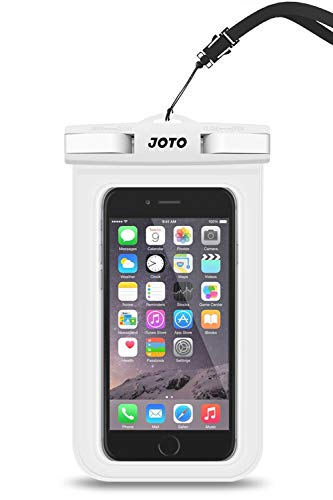 JOTO Bolsa Estanca Móvil Universal, Funda Impermeable para iPhone 12 Mini/Pro/Pro MAX/11/XS/XR/8 Plus/7 Plus, Galaxy Note10+/S20 Ultra/S20+/S10e, Huawei hasta 6,9' Diagonal -Blanco