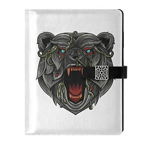 Cuaderno de piel para diario de viaje, diseño de oso enojado, rellenable, tamaño A5, con anillas de tapa dura, para mujeres y hombres