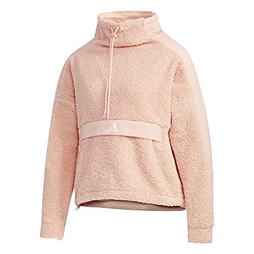 adidas Women's High-Neck Pullover Polar Fleece Sweater, Glow Pink XL