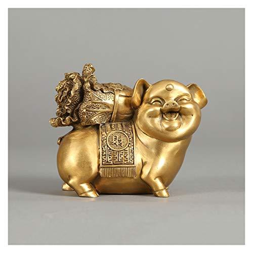 Decoraciones Golden Feng Shui estatua animal cerdo cerdo esculturas de bronce del zodiaco chino Decoración superior Decoración para el hogar Oficina Atraje de riqueza y buena suerte Figurine C