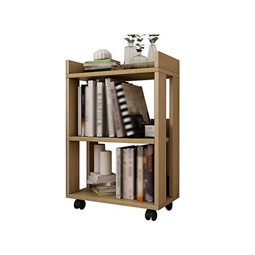 Regale, Kinderregale - Boden Kleines Mobiles Multifunktions-Bücherregal - Fahrbares Rad-Büro-Bücherregal - Massivholzboden-Rollenrahmen, Nussbaum Hell (Größe: 45x24x67cm)