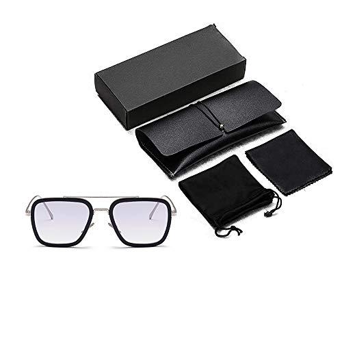 Chiefstore Gafas de sol de Iron Man Tony Stark Peter Parker Edith, gafas para cosplay, accesorios para hombre, mujer, ropa, merchandise (gafas con caja de gafas, gris)