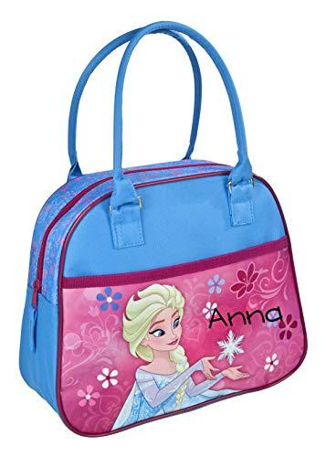 Handtasche für Mädchen mit Namen   Motiv ELSA die Eisprinzessin Frozen in blau, rosa & pink   Kita- & Kindergartentasche für Kleinkinder   Personalisieren & Bedrucken   inkl. NAMENSDRUCK