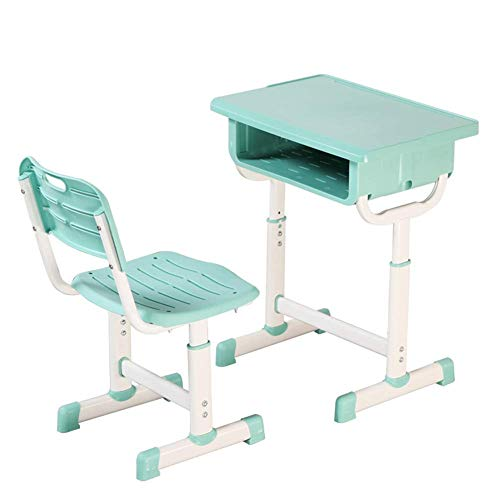 N/Z Daily Equipment Kid Desk and Chair Set Children Height Adjustable Ergonomic Design School Study Table Desk with Storage Drawer for Student Study Reading Writing