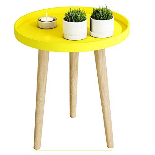 BinLZ-Table Kleiner Runder Tisch Couchtisch Nachttisch Ecktisch Sofa Beistelltisch Palettentisch Esstisch Optionale Farbe, Größe, Gelb, 40 * 44 cm