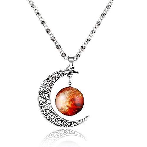 Collar Tipos Fantasy Space Planet Moon Collar Largo Mujer, Cool Time Gem Collares Pendientes para Mujer Sin Cuello Hombres Joyería Q33