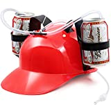 Novelty Place] Guzzler Drinking Helmet - Can Holder Drinker Hat Cap with Straw for Beer and Soda - Party Fun - Red