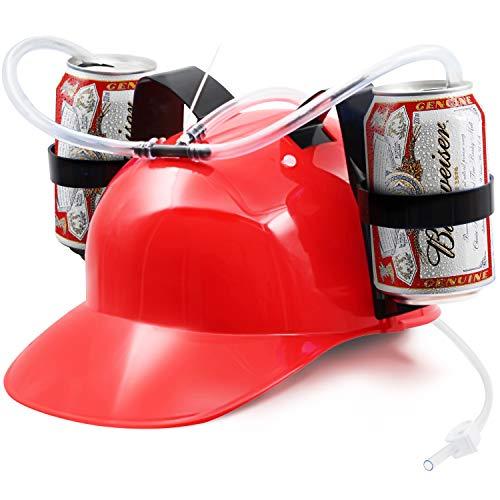 Novelty Place] Tragón Casco para Beber - Soporte para Lata Bebedor Gorra Casco con Pajita para Cerveza y Refresco - Fiesta Diversión - Rojo