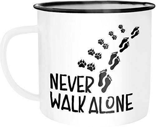Moonworks Emaille Tasse Becher Never walk alone Hund Hundebesitzer Dog Kaffeetasse weiß-schwarz unisize