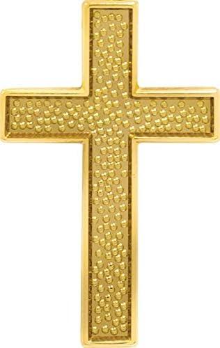 Chenille Gold Cross Pin - Religious Cross Lapel Pins Prime