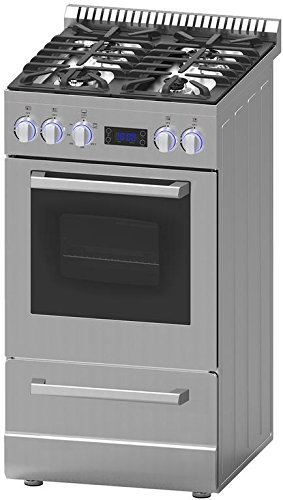 Avanti DGR20P3S 20' Gas Range with Sealed Burner Cast Iron Grates Waist High Broil in