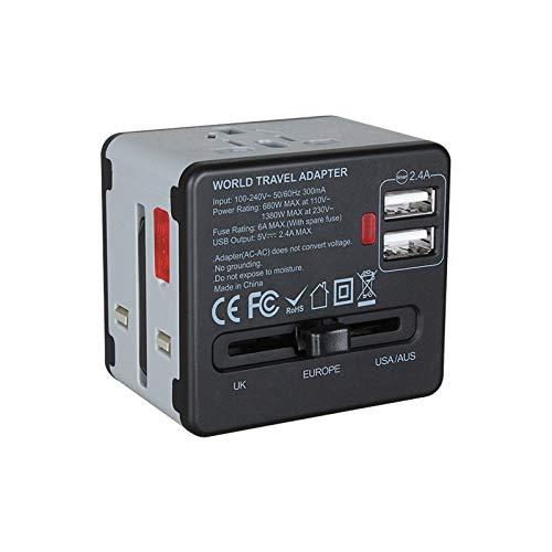 Etlephe Adattatore Universale da Viaggio per Prese Elettriche, Adatta plug di alimentazione per 150 Paesi con 2 USB 100V - 240V 6A - Grigio