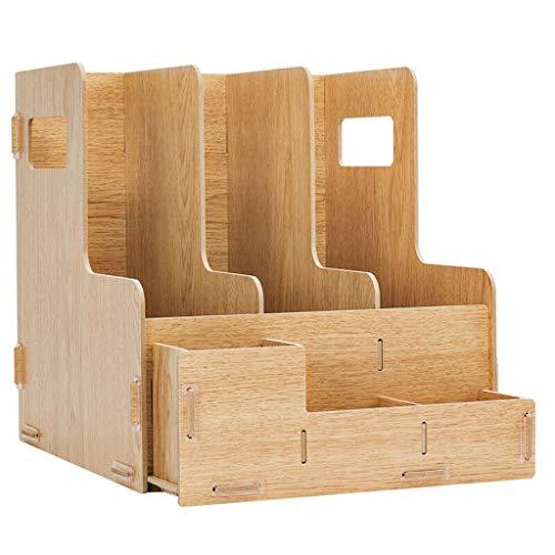 Estantes de Archivos para Escritorio Archivo madera rack multifuncional Organizador de escritorio y almacenamiento de escritorio simple del archivo clasificador vertical rack Material for oficina Revi