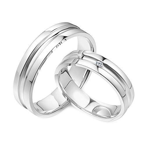 Daesar Platinum Anniversary Ring for Women and Men Couple Rings Promise Round 0.02ct Diamond Promise Rings for Her and Him White Gold Ring Women Size N 1/2 & Men Size U 1/2
