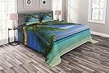 Ambesonne Ocean - Colcha con fundas de almohada, diseño de paraíso tropical en...