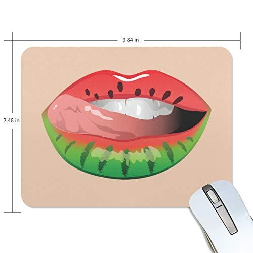 LZXO Mauspad für Gaming, Wassermelone, Lippenstift, 190 x 250 x 5 mm, rutschfeste Gummiunterseite,...