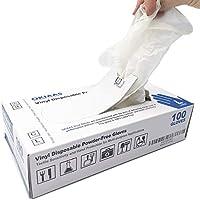 OKIAAS Guantes de Vinilo|Guantes translúcidos desechables libres de látex y polvo para la limpieza del hogar, manipulación de alimentos, trabajo de laboratorio y más | Grandes 100 unidades/caja